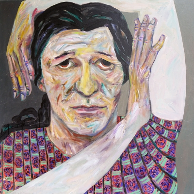 "Paula - Portraits | acrylic on canvas | 60""x60"" by Chris Harris, artist on Pender Island"