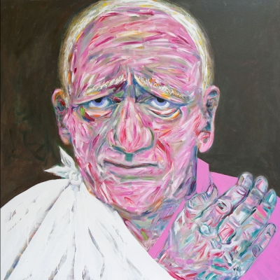 "Alan - Portraits | acrylic on canvas | 60""x60"" by Chris Harris, artist on Pender Island"