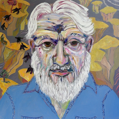 "Bob - Portraits | acrylic on canvas | 60""x60"" by Chris Harris, artist on Pender Island"