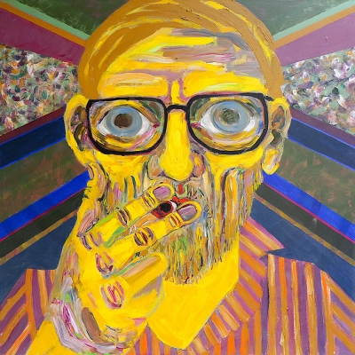 "Bodo - Portraits | acrylic on canvas | 60""x60"" by Chris Harris, artist on Pender Island"