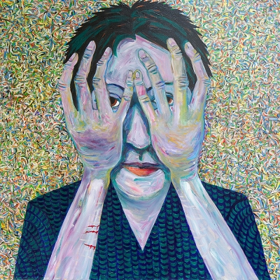 "Catherine - Portraits | acrylic on canvas | 60""x60"" by Chris Harris, artist on Pender Island"