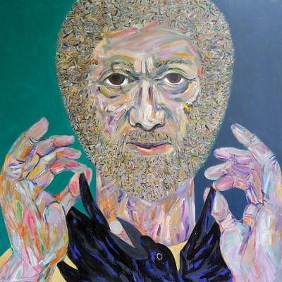 George | Portraits Series | Acrylic on canvas by Chris Harris, artist on Pender Island