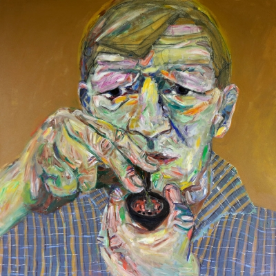 "Jack H. - Portraits | acrylic on canvas | 60""x60"" by Chris Harris, artist on Pender Island"