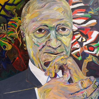 "Jack S. - Portraits | acrylic on canvas | 60""x60"" by Chris Harris, artist on Pender Island"
