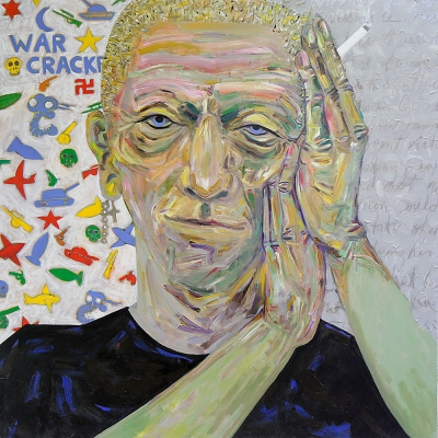 "Patrick - Portraits | acrylic on canvas | 60""x60"" by Chris Harris, artist on Pender Island"