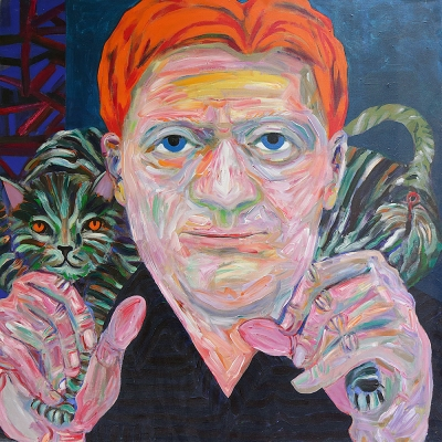 "Sam - Portraits | acrylic on canvas | 60""x60"" by Chris Harris, artist on Pender Island"