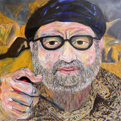 "Tony - Portraits | acrylic on canvas | 60""x60"" by Chris Harris, artist on Pender Island"