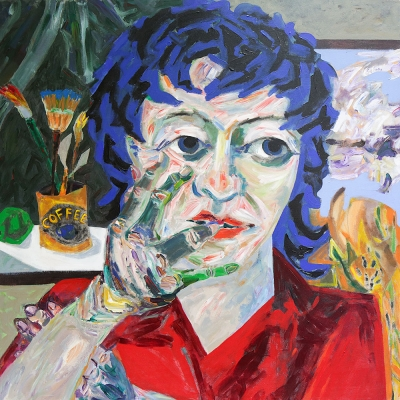 "Vicky - Portraits | acrylic on canvas | 60""x60"" by Chris Harris, artist on Pender Island"