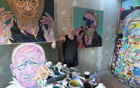 Artist Chris Harris in his studio on Pender Island