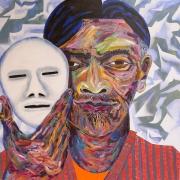 "Abraham - Portraits | acrylic on canvas | 60""x60"" by Chris Harris, artist on Pender Island"