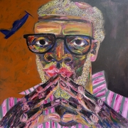 "Jim - Portraits | acrylic on canvas | 60""x60"" by Chris Harris, artist on Pender Island"
