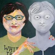 "Mary-Anne - Portraits | acrylic on canvas | 60""x60"" by Chris Harris, artist on Pender Island"