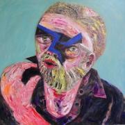"The Blue Bird - Portraits | acrylic on canvas | 60""x60"" by Chris Harris, artist on Pender Island"