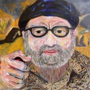 "Tony - Portraits | acrylic on canvas | 60""x60"" by Chris Harris, artist on Pender Island"